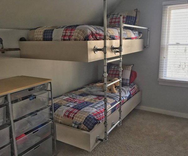 Boys Room Makeover Floating Bunk Beds - Boys Room Makeover With Floating Bunk Beds - Www.meghantucker.com